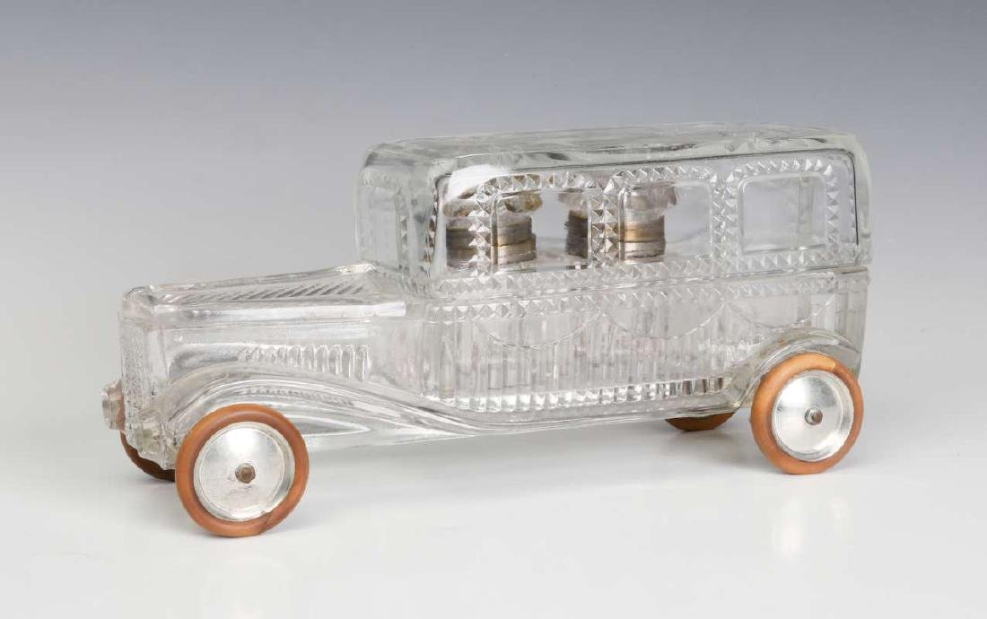 EARLY 1900s AUTOMOBILE FORM CUT CRYSTAL INK STAND
