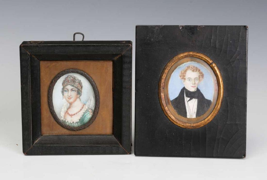 TWO 19TH CENTURY MINIATURE PORTRAIT PAINTINGS