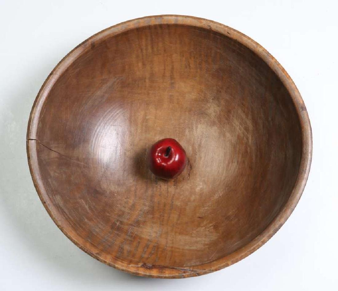 A LARGE 19TH CENTURY AMERICAN TIGER MAPLE DOUGH BOWL - 2