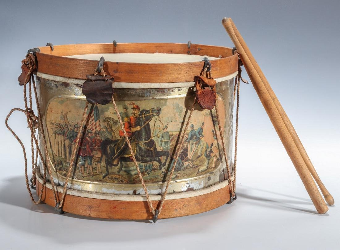 A 19TH CENTURY AMERICAN DRUM WITH CHROMOLITHO BATTLE