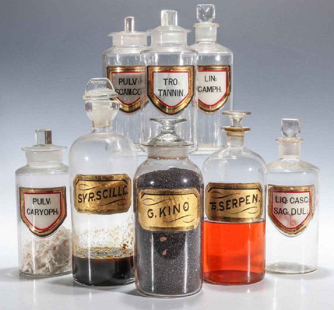 GOOD 19TH CENTURY LABEL-UNDER-GLASS APOTHECARY JARS