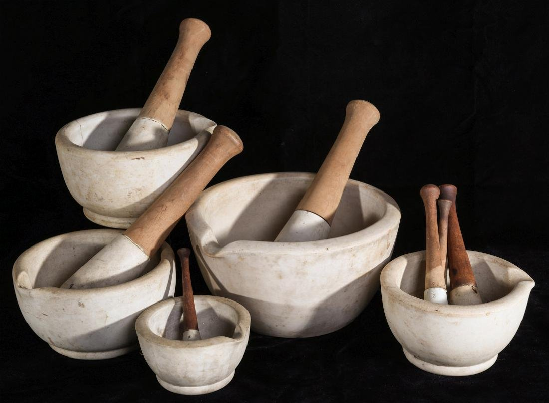 FIVE ANTIQUE PORCELAIN MORTAR AND PESTLES