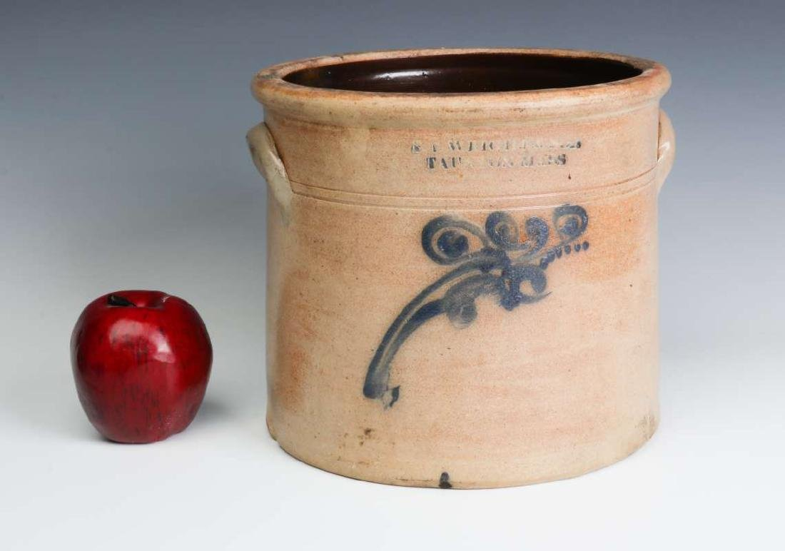 A BLUE DECORATED CROCK SIGNED WRIGHT & SON - 6