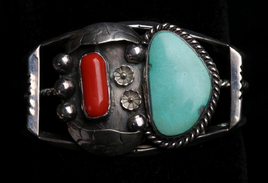 A NAVAJO STERLING, CORAL & TURQUOISE CUFF BRACELET