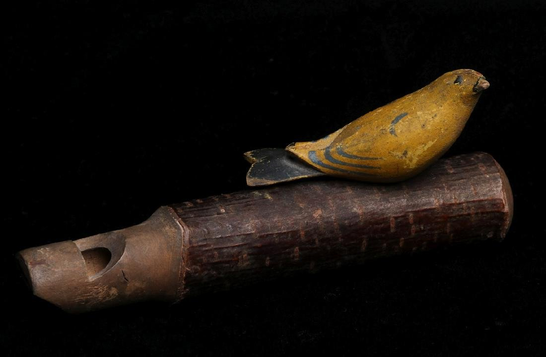 A GOOD FOLK ART WHISTLE W/FIGURAL BIRD - OLD PAINT