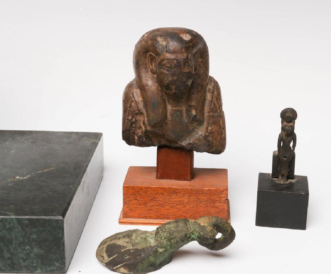 EIGHT BRONZE AND STONE ARTIFACTS OF EGYPTIAN MOTIF - 3