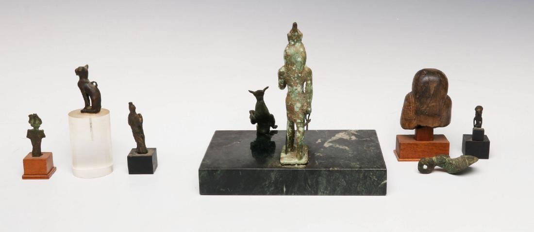 EIGHT BRONZE AND STONE ARTIFACTS OF EGYPTIAN MOTIF - 6