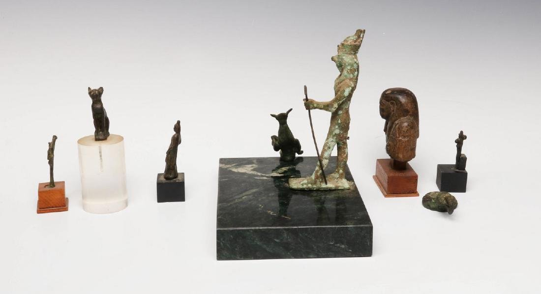 EIGHT BRONZE AND STONE ARTIFACTS OF EGYPTIAN MOTIF - 7