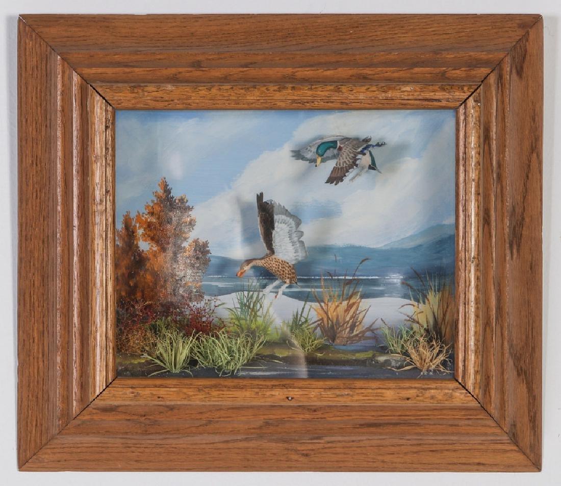 A FOLK ART DIORAMA BY R.G. RODELL - MALLARD DUCKS - 2