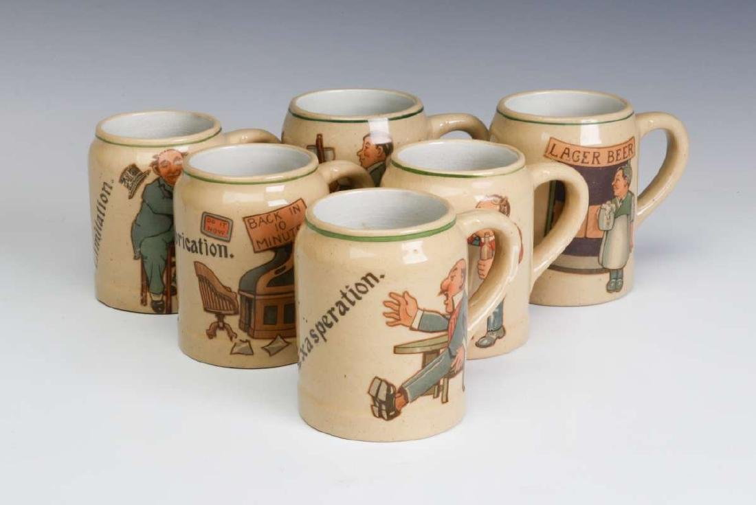 SIX PRE-PROHIBITION GERMAN POTTERY CHARACTER MUGS