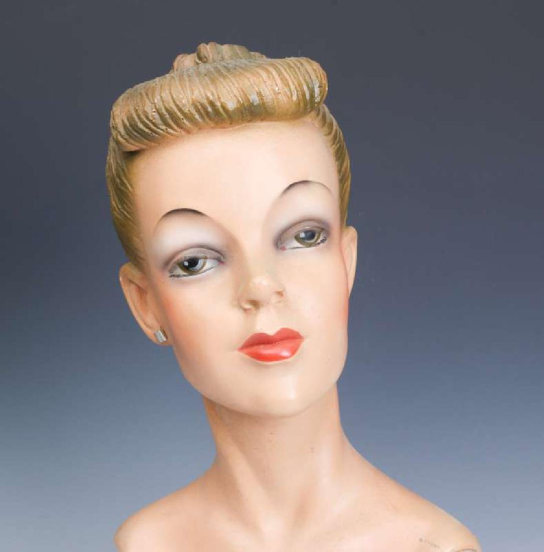 A GOOD C. 1940 DEPT STORE MANNEQUIN HEAD DISPLAY - 2