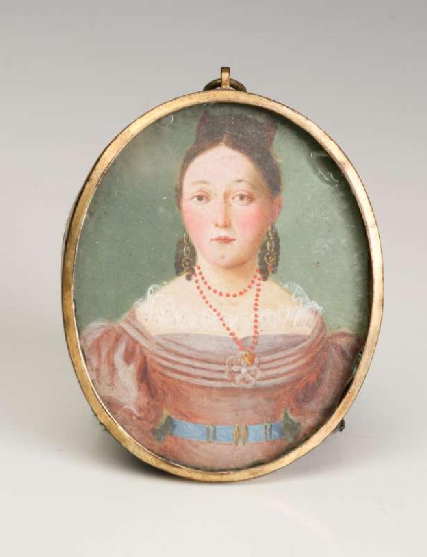 A GOOD 19TH CENTURY AMERICAN PAINTED MINIATURE PORTRAIT - 2