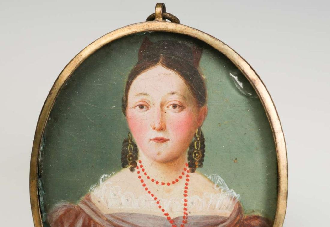 A GOOD 19TH CENTURY AMERICAN PAINTED MINIATURE PORTRAIT - 3