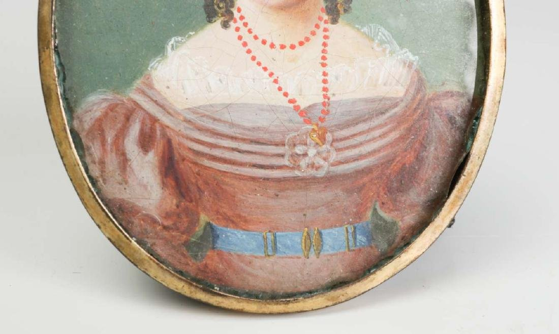 A GOOD 19TH CENTURY AMERICAN PAINTED MINIATURE PORTRAIT - 4