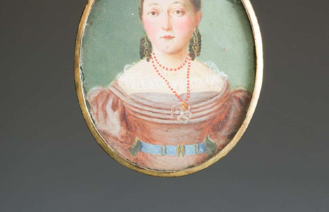 A GOOD 19TH CENTURY AMERICAN PAINTED MINIATURE PORTRAIT - 7