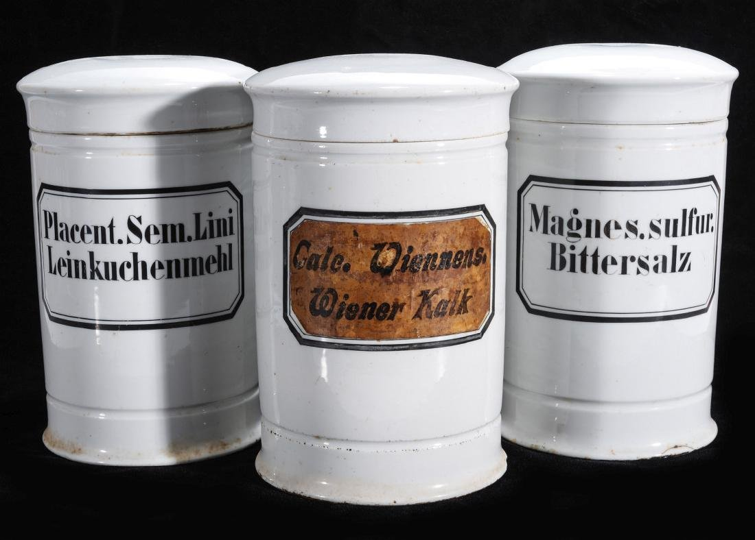 THREE 19TH CENTURY CONTINENTAL PORCELAIN APOTHECARY