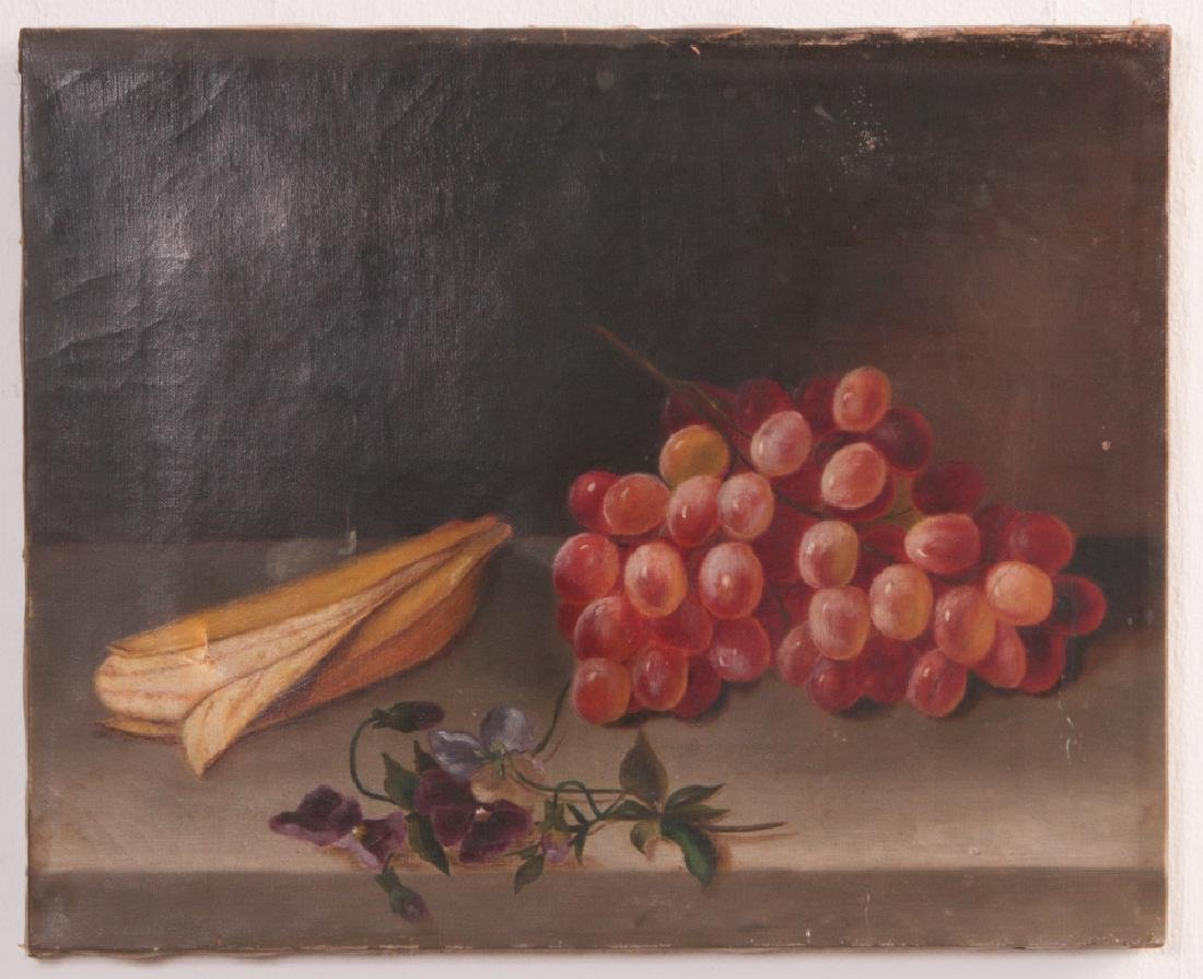 THREE 19TH CENTURY FRUIT STILL LIFE OIL PAINTINGS - 2