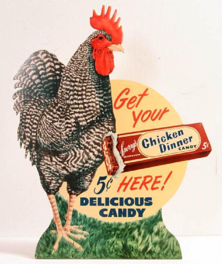 A 'CHICKEN DINNER' 5 CENT CANDY ADVTG SIGN C. 1940
