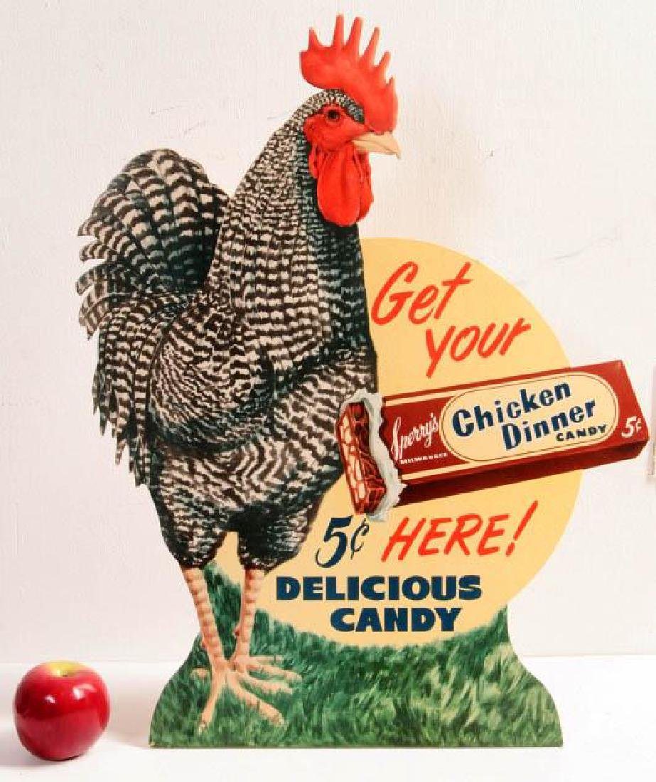 A 'CHICKEN DINNER' 5 CENT CANDY ADVTG SIGN C. 1940 - 5