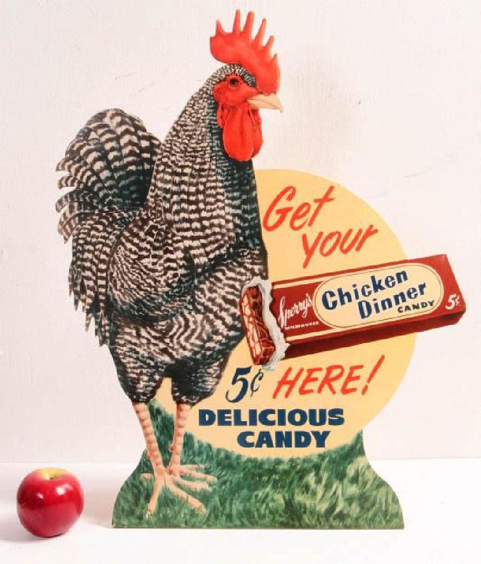 A 'CHICKEN DINNER' 5 CENT CANDY ADVTG SIGN C. 1940 - 6