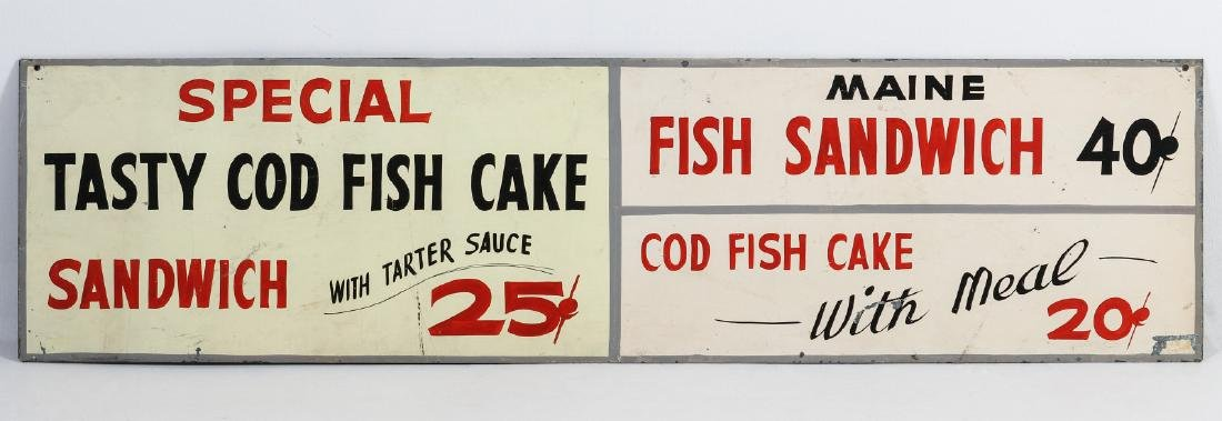 A PAINTED METAL MENU SIGN WITH 25¢ FISH SANDWICH