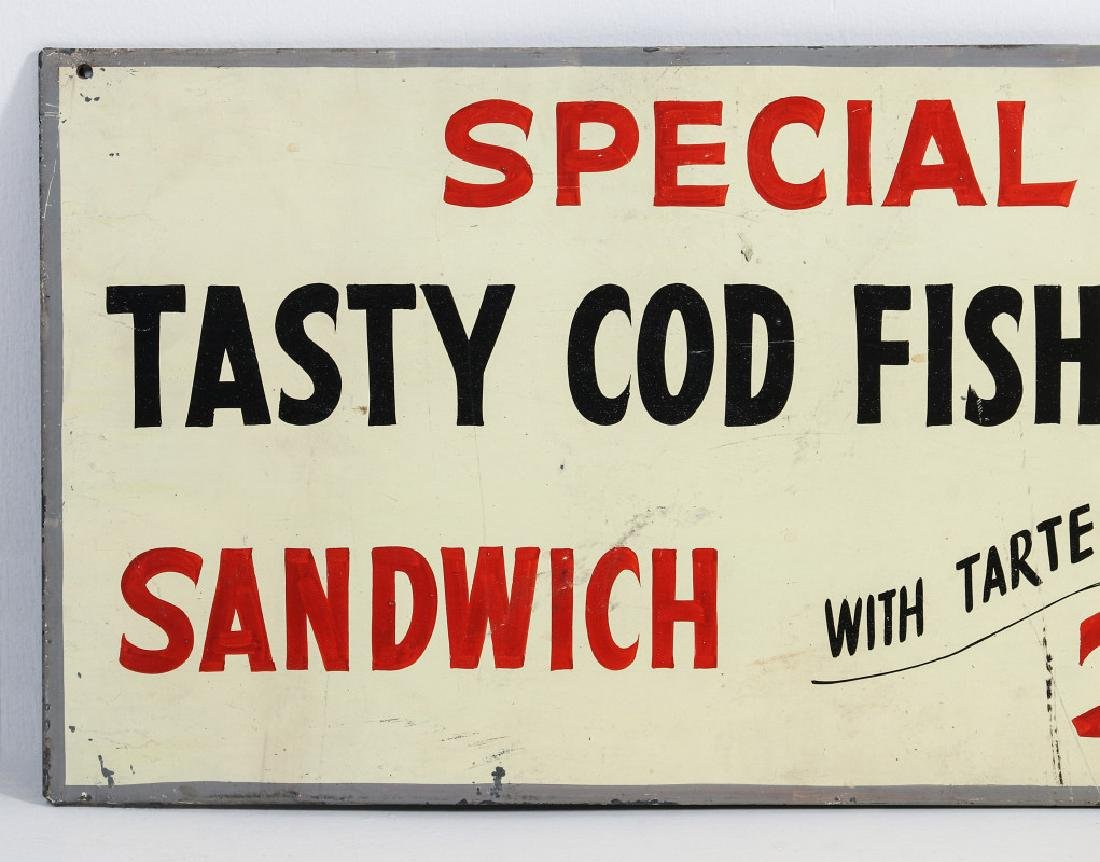 A PAINTED METAL MENU SIGN WITH 25¢ FISH SANDWICH - 2