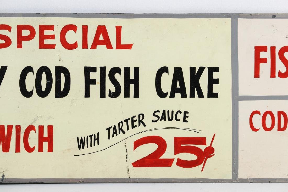 A PAINTED METAL MENU SIGN WITH 25¢ FISH SANDWICH - 3