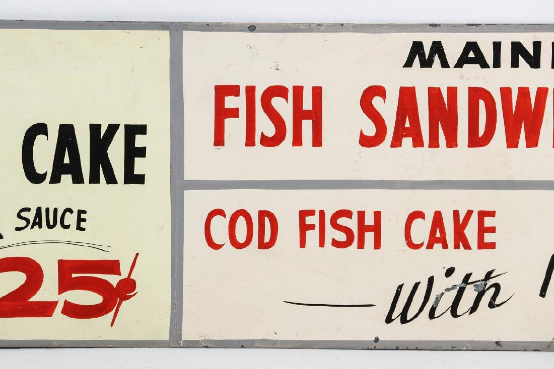 A PAINTED METAL MENU SIGN WITH 25¢ FISH SANDWICH - 4