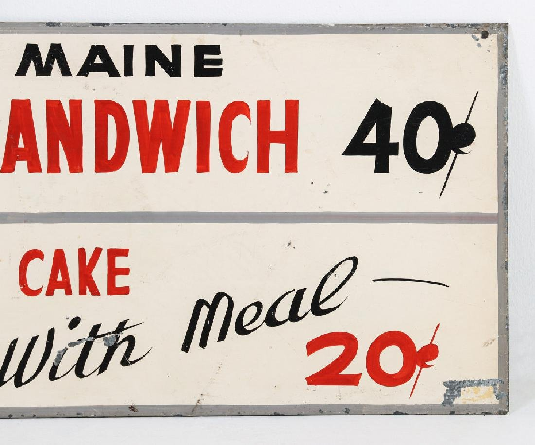 A PAINTED METAL MENU SIGN WITH 25¢ FISH SANDWICH - 5