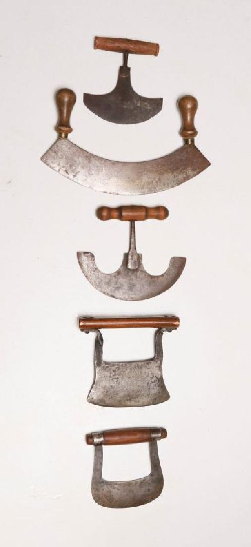 A COLLECTION OF 19TH CENTURY WOOD HANDLED FOOD CHOPPERS