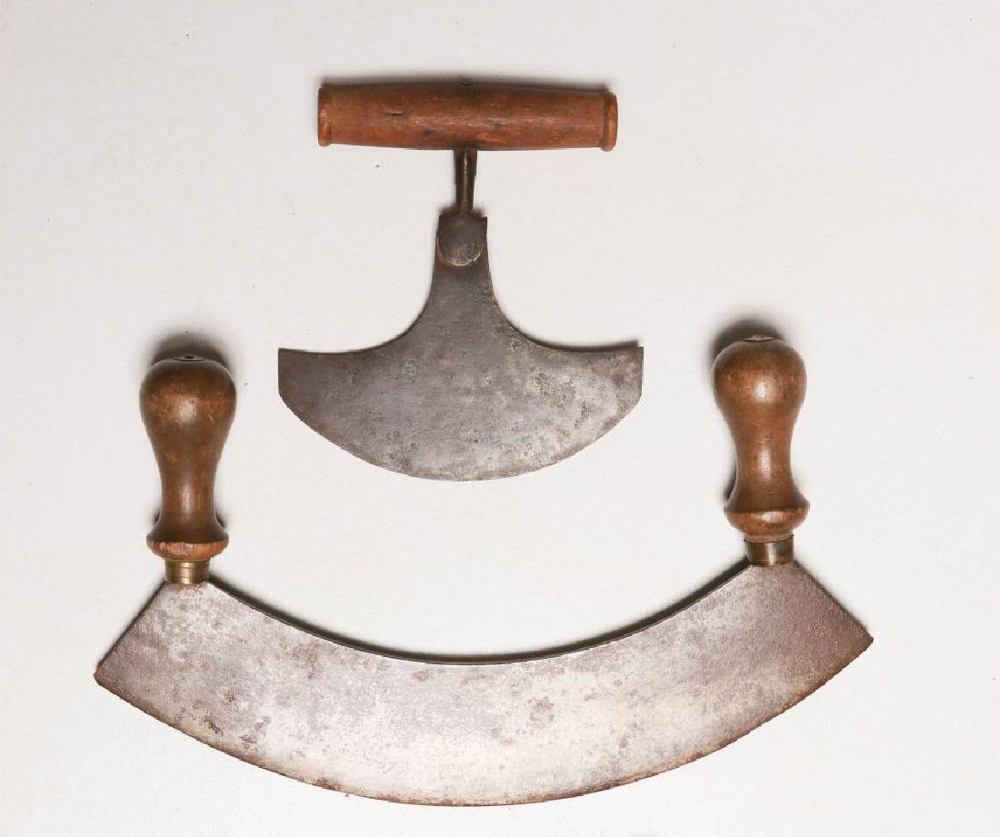 A COLLECTION OF 19TH CENTURY WOOD HANDLED FOOD CHOPPERS - 2
