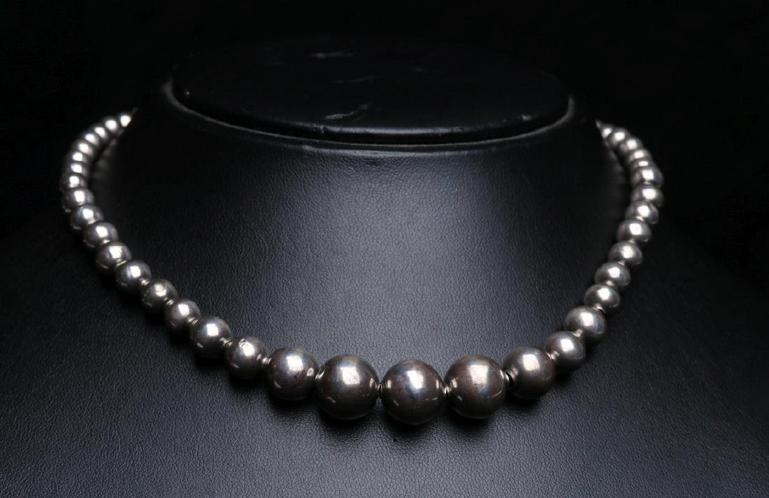 CHOKER LENGTH NECKLACE OF HANDMADE STERLING BEADS