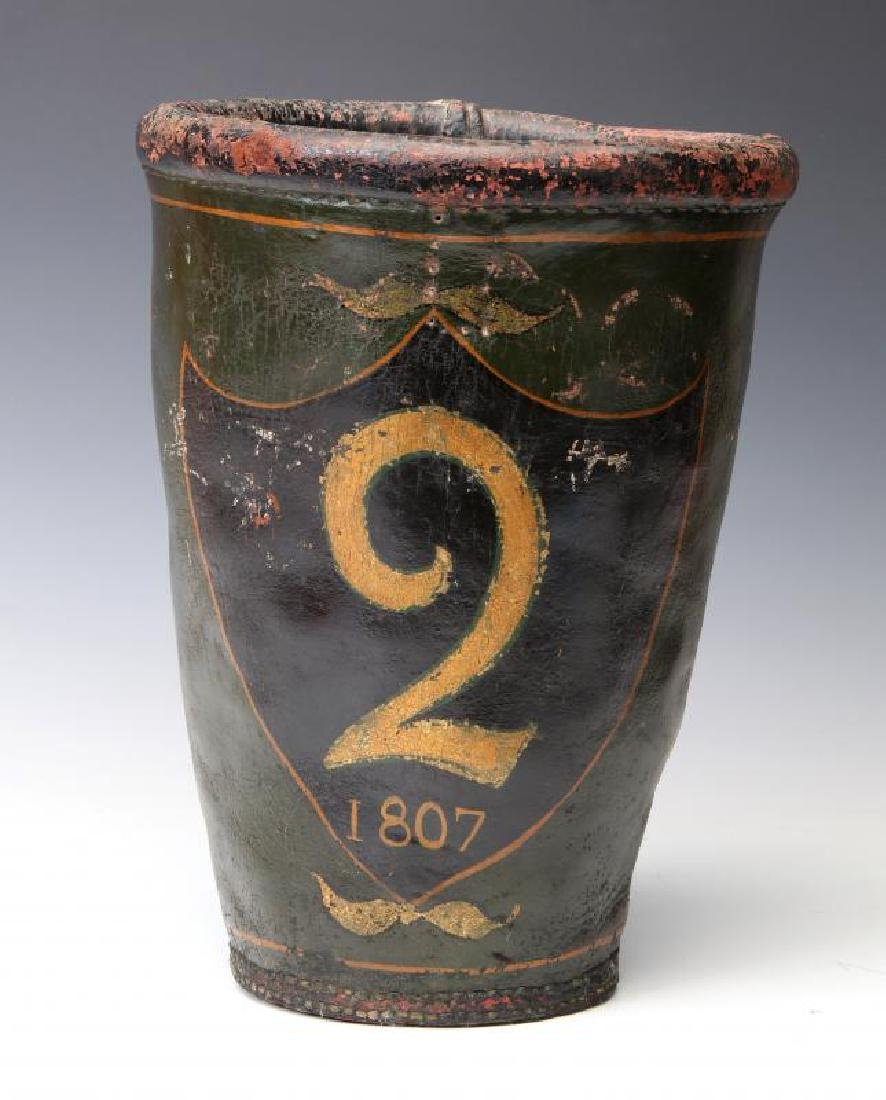AN ANTIQUE PAINTED LEATHER FIRE BUCKET