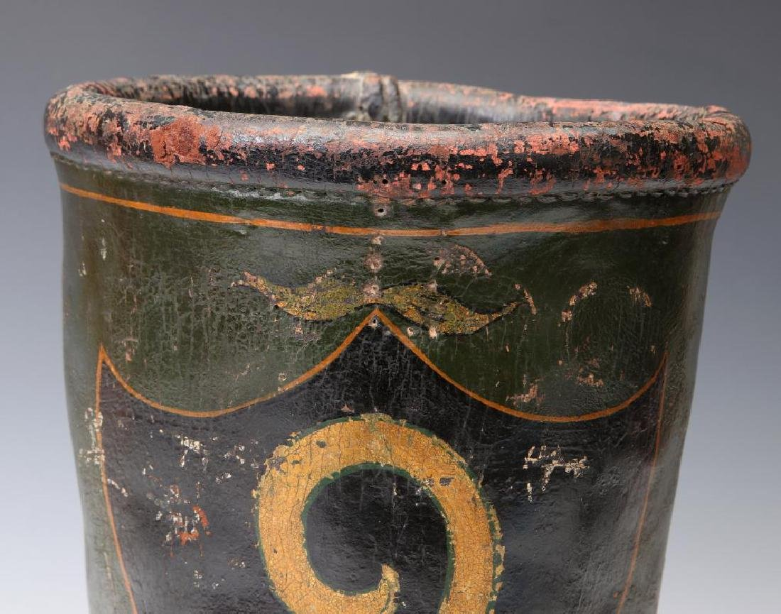 AN ANTIQUE PAINTED LEATHER FIRE BUCKET - 3