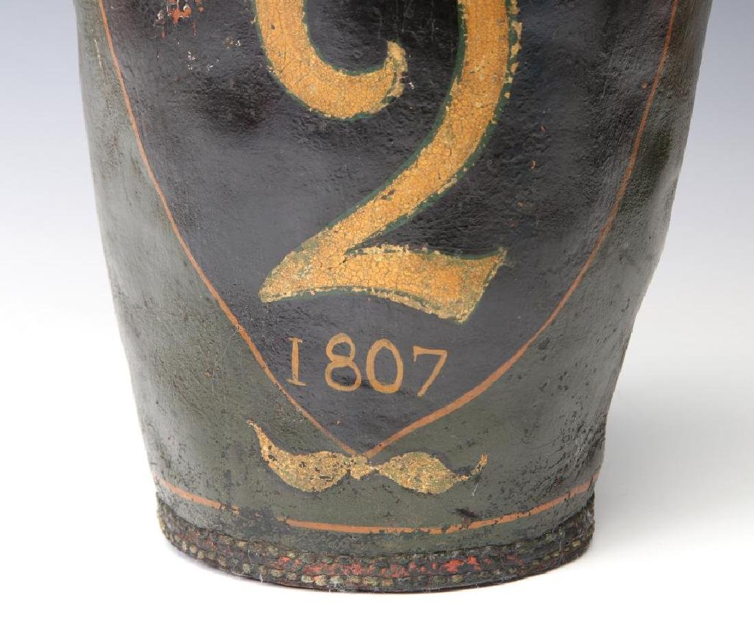 AN ANTIQUE PAINTED LEATHER FIRE BUCKET - 4