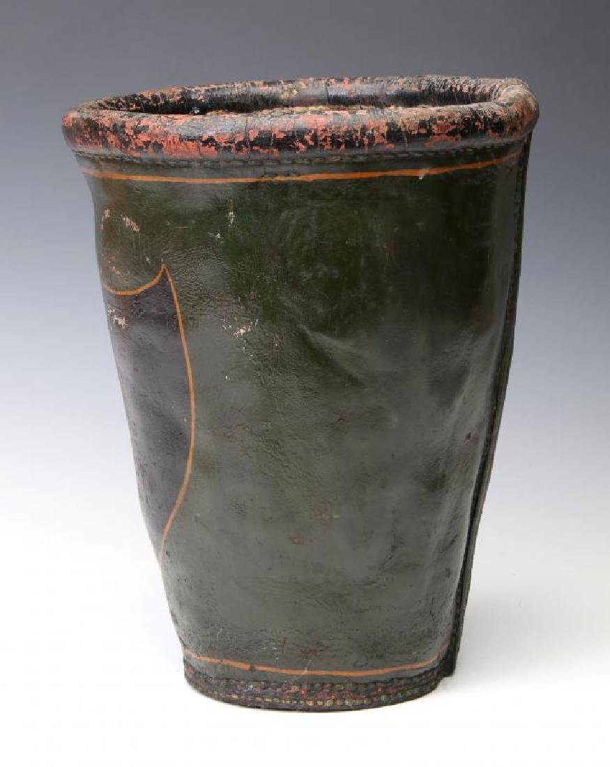 AN ANTIQUE PAINTED LEATHER FIRE BUCKET - 5