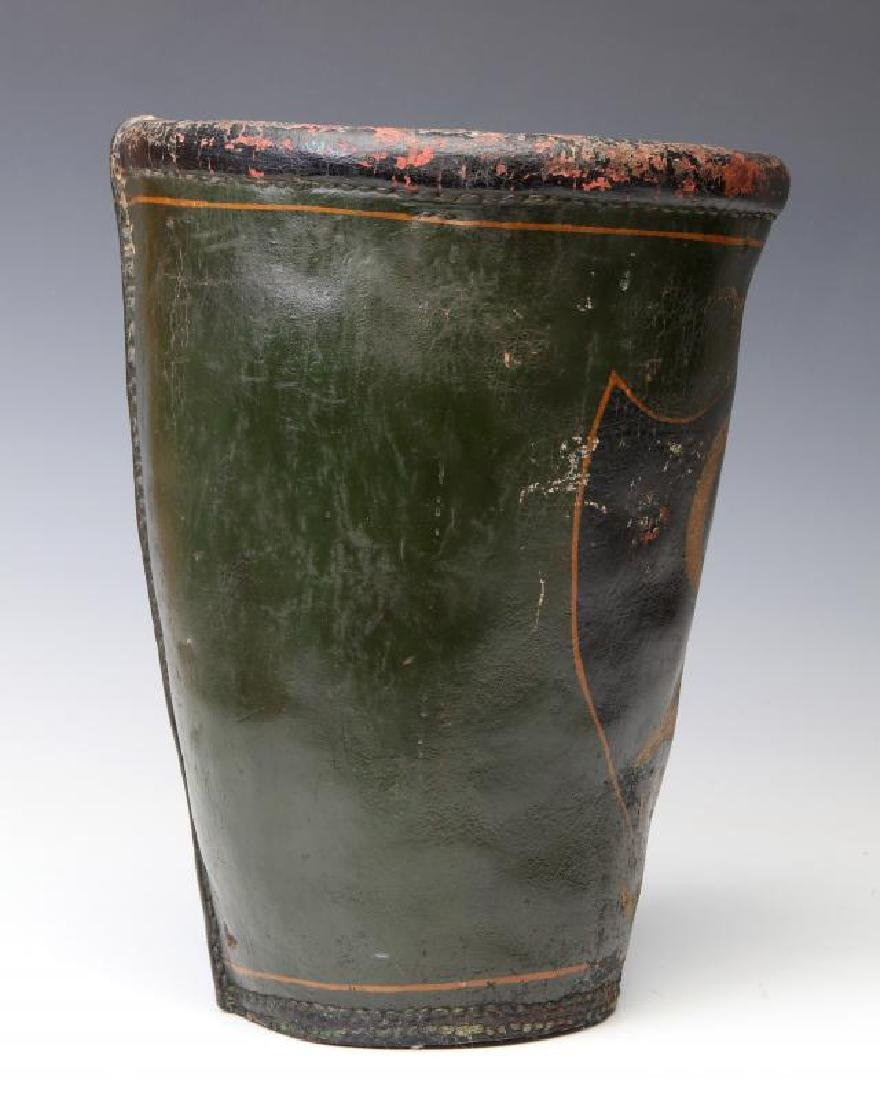 AN ANTIQUE PAINTED LEATHER FIRE BUCKET - 7