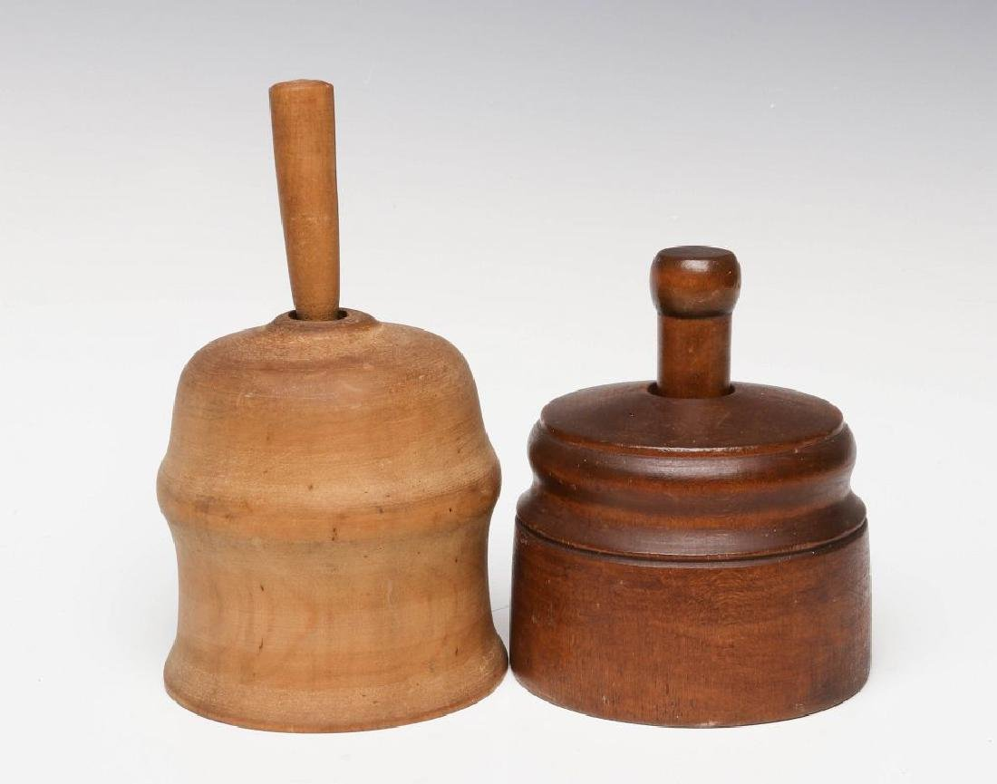 TWO 19TH CENTURY TURNED WOOD BUTTER MOLDS