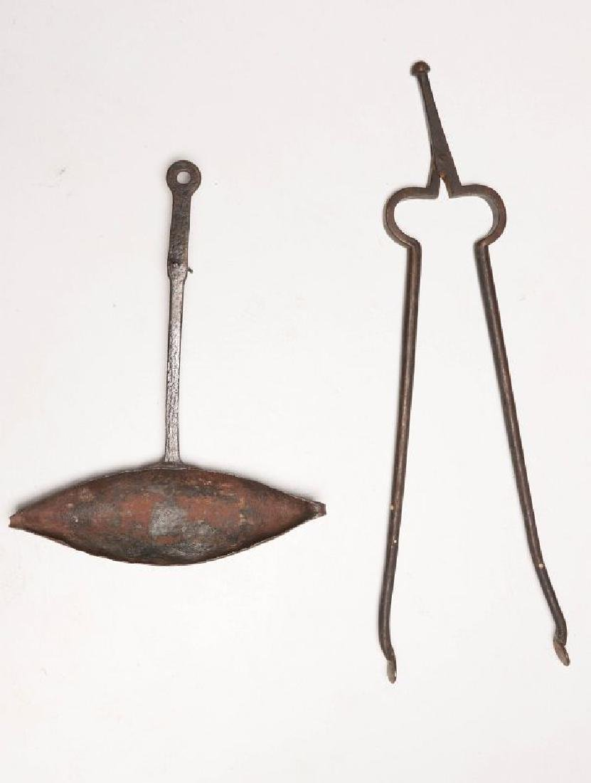 TWO HAND FORGED COOKING UTENSILS