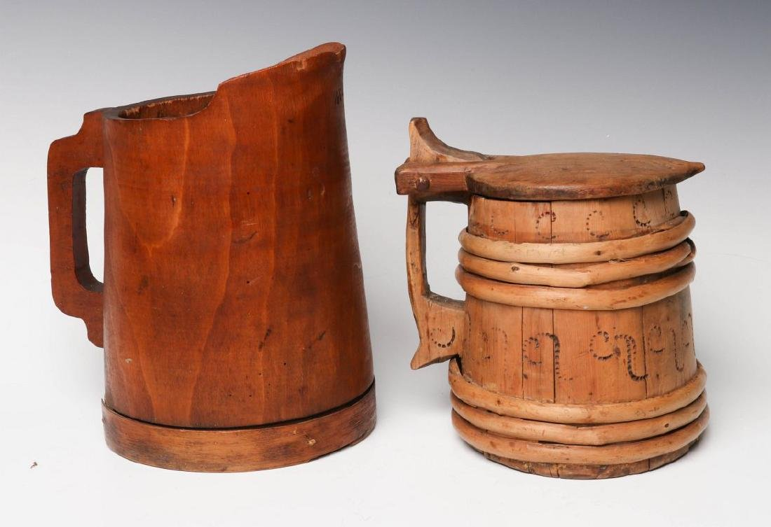 1900s SCANDINAVIAN WOOD TANKARD AND MAPLE PITCHER