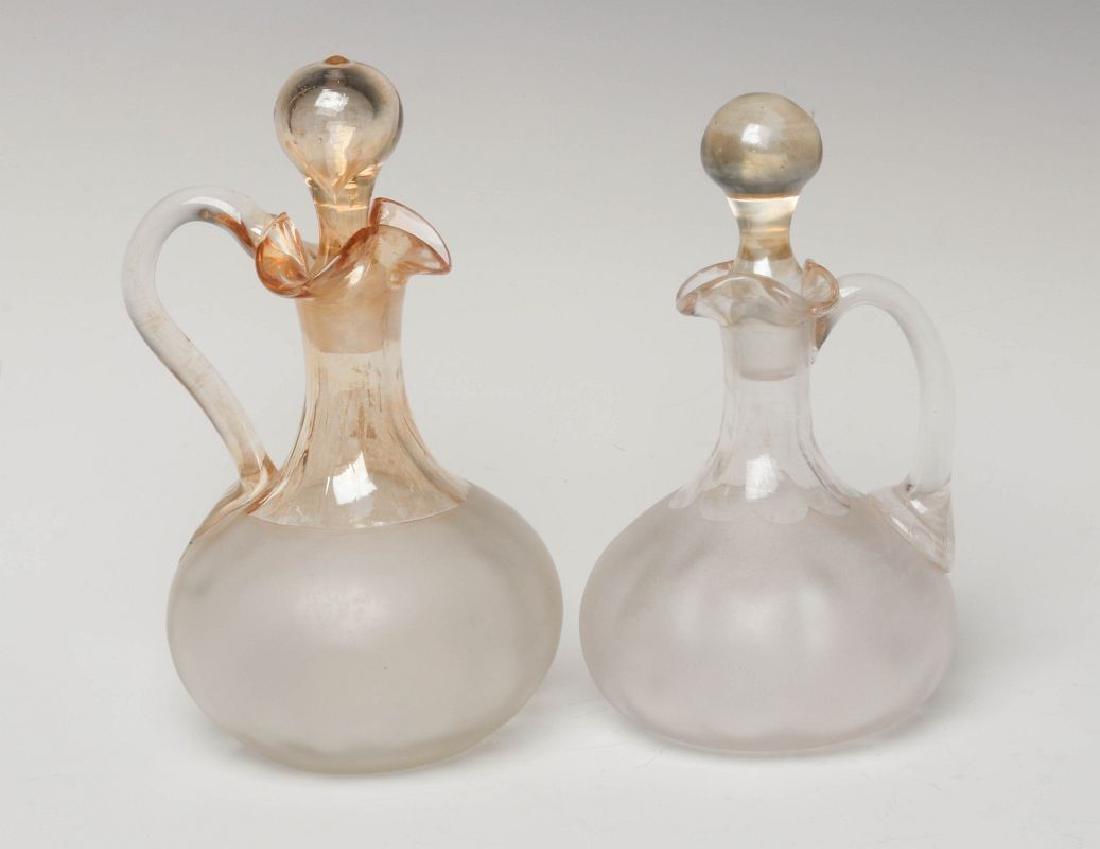 TWO NEW ENGLAND GLASS CO POMONA GLASS CRUETS