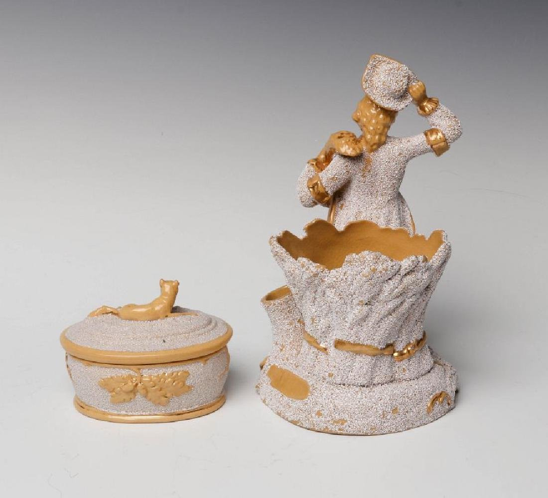 TWO GOOD 19TH CENTURY SANDED YELLOW WARE OBJECTS - 3