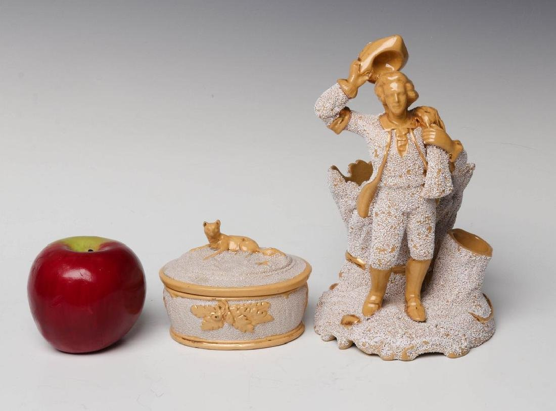 TWO GOOD 19TH CENTURY SANDED YELLOW WARE OBJECTS - 6
