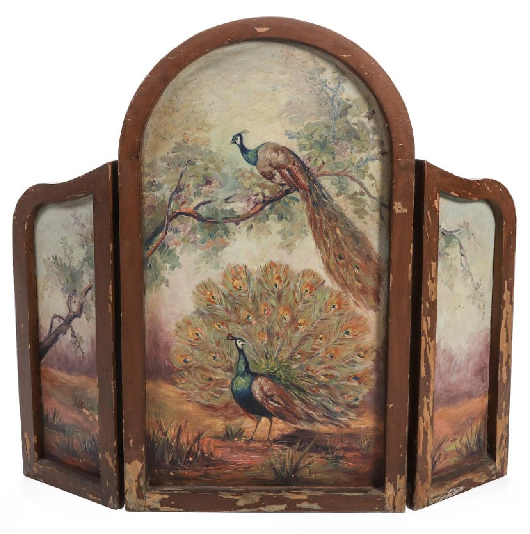 A CIRCA 1930s HAND PAINTED FIREPLACE SCREEN