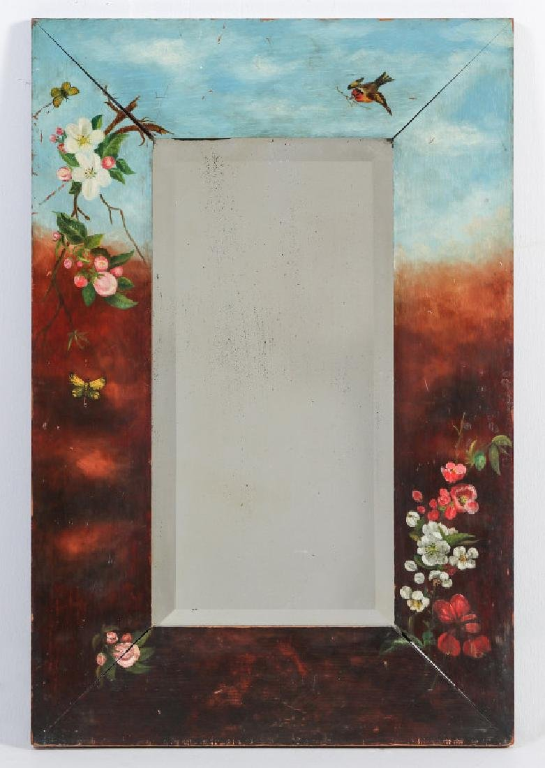VICTORIAN PAINTED MIRROR FRAME WITH BEVELED PLATE
