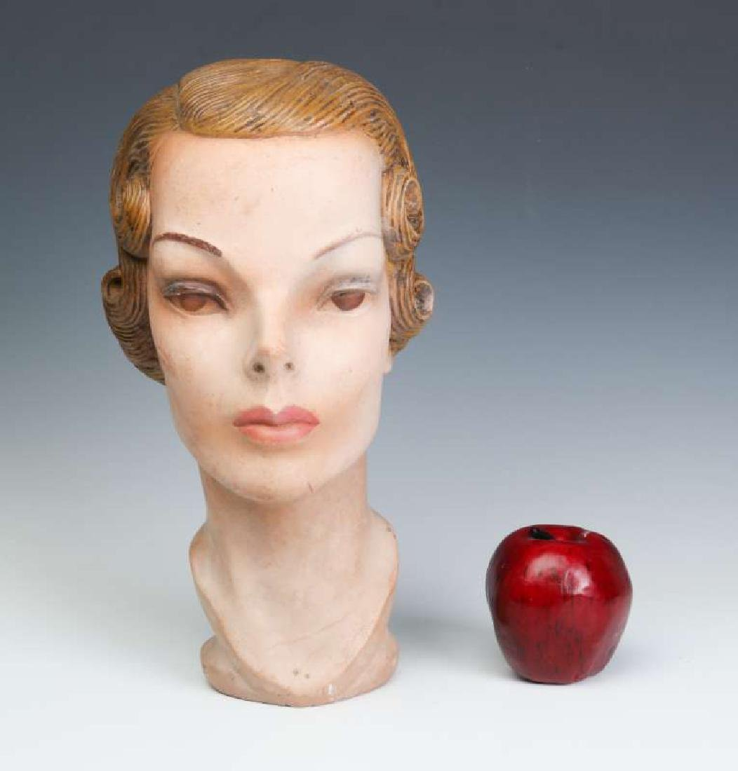 A NICE PAINTED PLASTER MANNEQUIN HEAD CIRCA 1940 - 10
