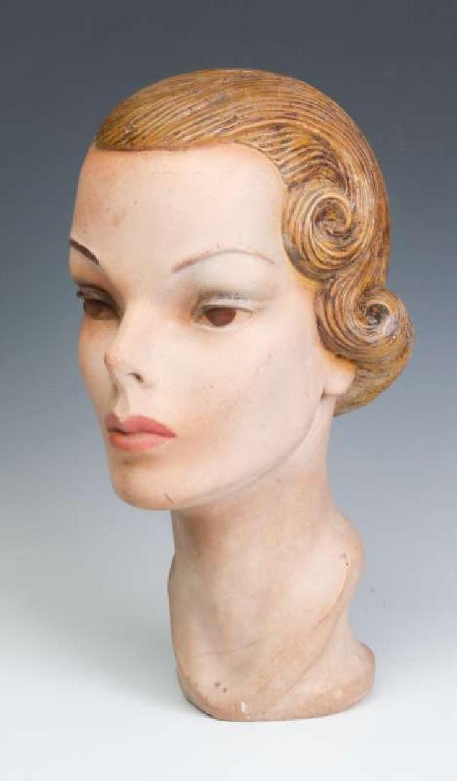 A NICE PAINTED PLASTER MANNEQUIN HEAD CIRCA 1940