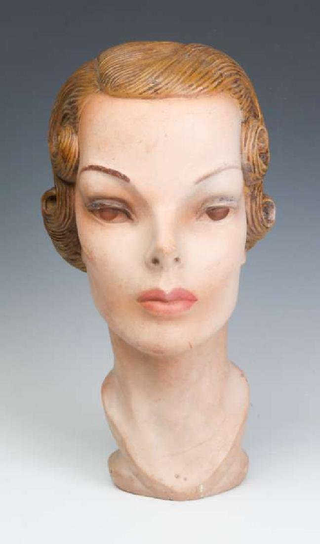 A NICE PAINTED PLASTER MANNEQUIN HEAD CIRCA 1940 - 2
