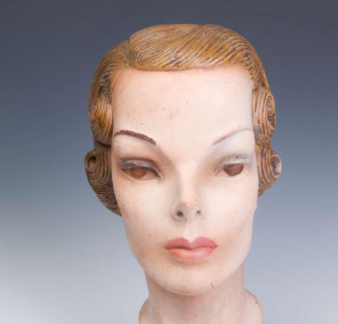 A NICE PAINTED PLASTER MANNEQUIN HEAD CIRCA 1940 - 3