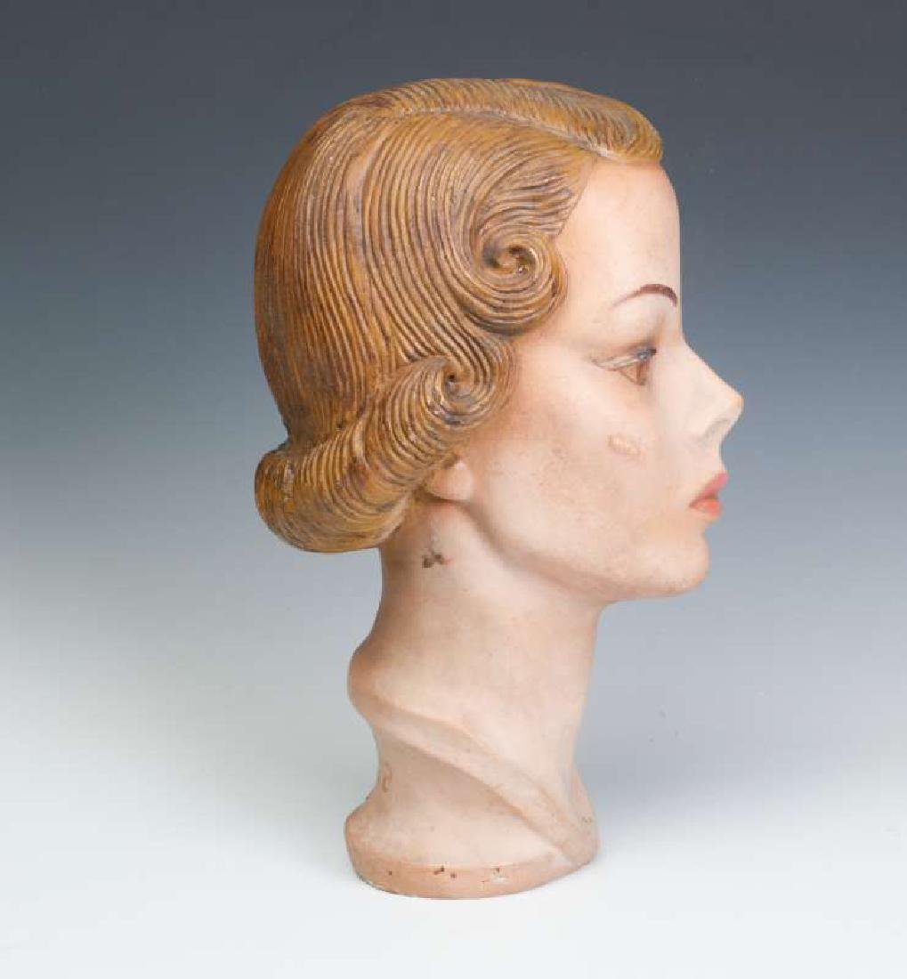 A NICE PAINTED PLASTER MANNEQUIN HEAD CIRCA 1940 - 4